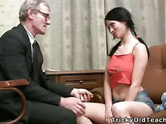 Hawt legal age teenager student acquires a smack of her sexually excited old teacher's hard pulsating ramrod