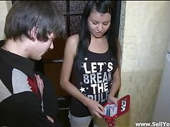 Charming legal age teenager cutie stands doggy fashion offering this gracious chap to fuck her cookie hard from the behind.