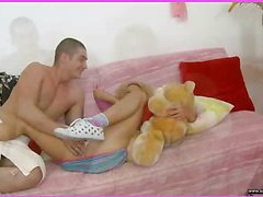 Brianna is home alone playing with her teddy bear when this sweetheart is finally approached by her stud. This Chap goes down on her bawdy cleft and laps up every drop of her wet twat and then this fellow copulates her cum-hole gap with a purple sex-toy. That Chap fingers her taut little chocolate gap as this fellow stretches the muscle. This Honey takes a double penetration of the sex-toy and his fingers in her holes. BriannaтАЩs a-hole is admirable and taut and heтАЩs doing his nearly all fine to stretch it for his dong as this chab fingers her and stretches her muscle. Then little Brianna takes him in her face gap as heтАЩs still trying to stretch her open for his shlong. That Chap bonks her cum-hole for several minutes and then starts the task of putting the tip of his 10-Pounder her a-hole in as that sweetheart squirms. Lastly that sweetheart sucks him off on the bed as that fellow cums in her mouth.