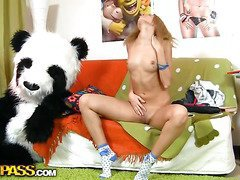 This toys porn clip starts in a very innocent way - a cute legal age teenager beauty is reading a book, leaning on her large panda bear toy. What a worthy girl! Don't know which book it was, but it made the honey exceedingly aroused. This Honey started touching herself, and marvelous pretty pretty soon the book was replaced by an enomous sex toy. Then the sexually excited honey decided to go for fun sex with her panda bear, who was equipped with a ding-dong rod just in case. They did it on the floor and on the couch, in so many poses and with such drive! U hav...