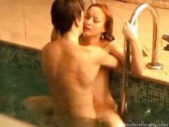 Check out this nasty redhead legal age teenager going slender dipping with one of her male allies. This Hottie thinks that it`s just the 2 of 'em and that that hottie can do soever that hottie craves out of anyone else ever finding out, but secretly outside the pool, is a voyeur photographer. That Guy`s filming throughout the window, looking in at the indoor pool and those 2 legal age teenagers getting very wicked. And it`s not long in advance of they`re doing a lot greater amount than just slender dipping. Beautiful Pretty in a short time this legal age teenager mounts her paramour right in the pool. It doesn`t stop there either!