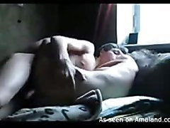 Breasty woman strips and performs precious tugjob to guy
